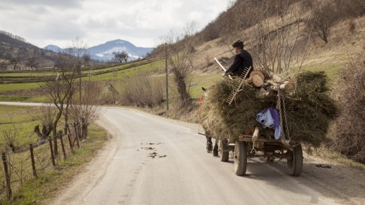 A farmer using the local time-honoured mode of transport.