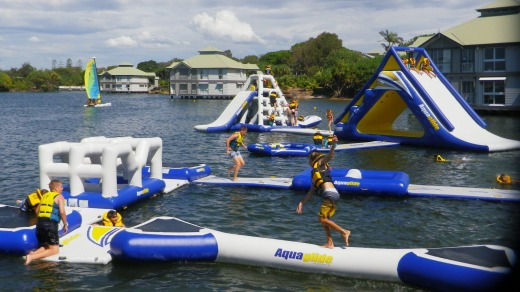 The Novotel Twin Waters Resort has its own water park of inflatable slides and pontoons on its lagoon.