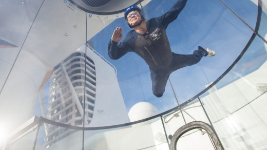Passengers can fly in Quantum of the Seas' skydiving simulator.