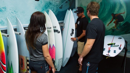 Surfers can select some of the country's best high-performance surfboards at the surf camp.