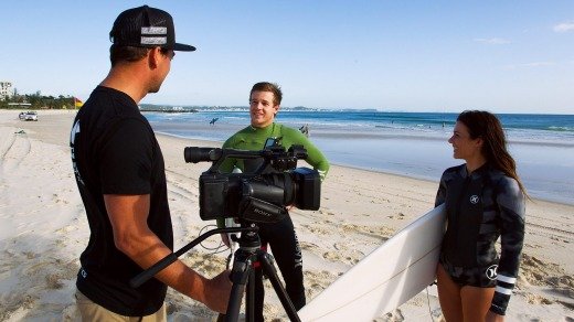 The surf school uses video to record surfers' performances, to give them pointers on how to improve.