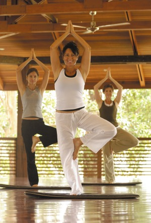 A yoga class at Gwinganna Lifestyle Resort.
