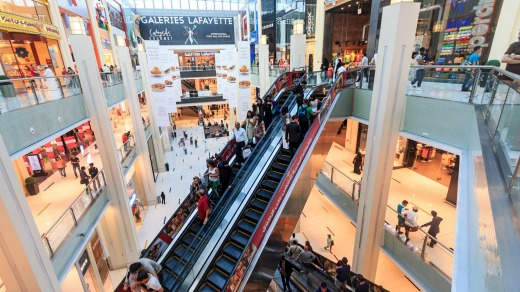Dubai Mall, one of the world's largest shopping malls with 1,200 shops.