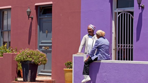 Brightly-painted houses line the streets of the suburb of Bo-Kaap.