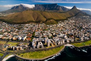 Table Mountain makes an imposing backdrop to the beautiful city of Cape Town.