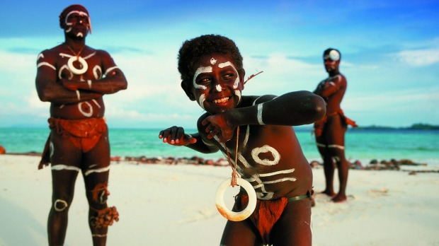 Traditional dancers with shell money at Vella Lavella Island, Western Province.