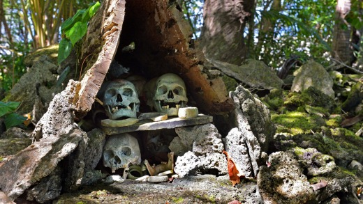 The remains of former chiefs and vanquished enemies at Skull Island.