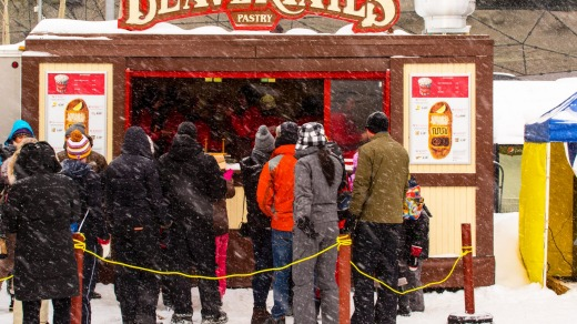 Beavertail Pastry Stand on the Skateway Rideau Canal during Winterlude.