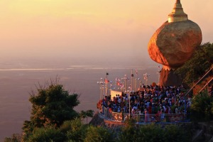 Kyaiktiyo Pagoda also called the Golden Rock in Myanmar.