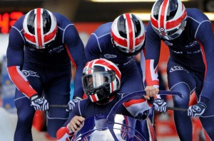 Britain's four-man bobsleigh team at the World Cup at the Igls track in 2013.