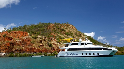 The Great Escape cruise boat and helicopter in the Buccaneer Archipelago, north of Broome.