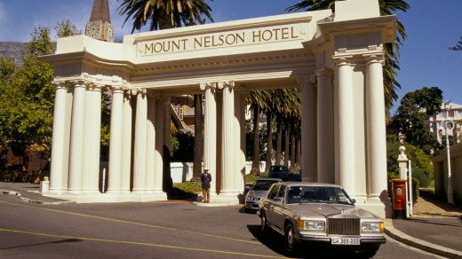 The main entrance to the Mount Nelson Hotel Cape Town South.