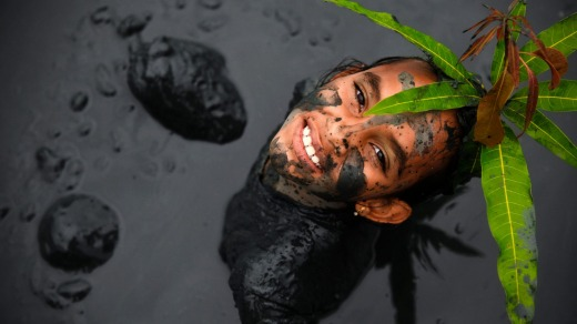 An exuberant mud festival is held in the old colonial village of Paraty in February.