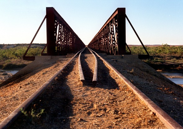 The old Ghan rail bridge.