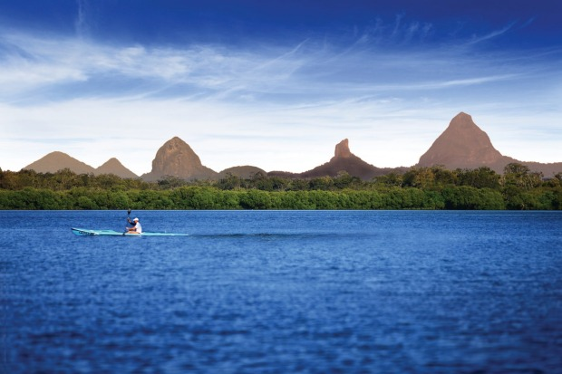 The stunning Glasshouse Mountains.