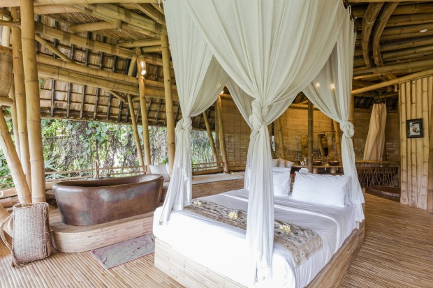 Bamboo House on a private beach near Ubud in Bali.
