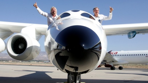 Richard Branson, left, in his concept craft, SpaceShipTwo.