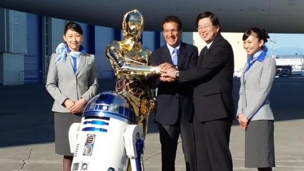 R2-D2 ANA jet: Japan's All Nippon Airways first Star Wars 787-9 Dreamliner plane. Pictured, Boeing's Senior Vice ...