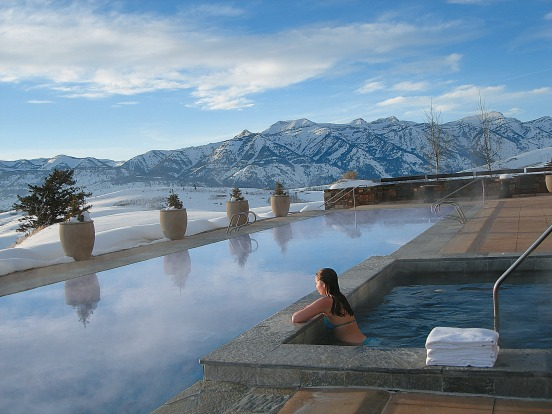 The pool at Amangani, Jackson Hole, Wyoming, USA.