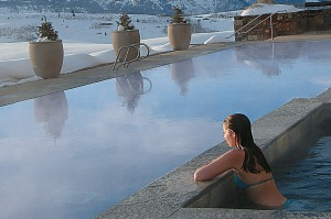 Pool at Amangani, Jackson Hole, Wyoming, USA.