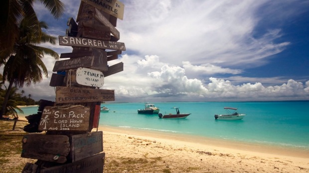 Ships sheltered in the safe anchorage at Direction Island, Cocos Keeling