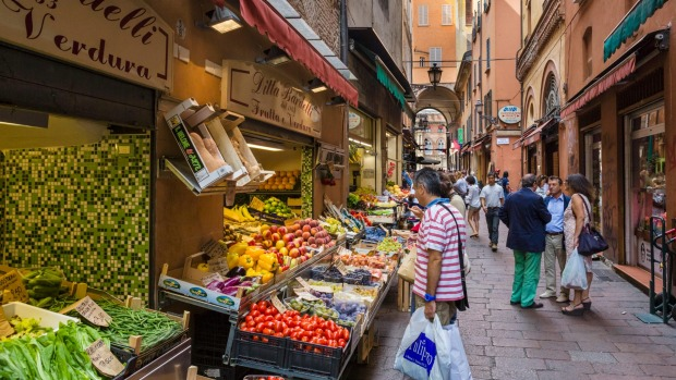 Produce stalls  in the historic Quadrilatero market district of Bologna offer a tempting range.