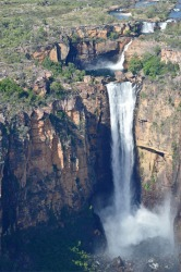 The spectacular Jim Jim Falls were the highlight of a sightseeing flight over Kakadu National Park at the end of the wet ...