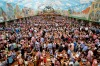 Visitors enjoy  the 182nd Oktoberfest in Munich, Germany  in one of the beer tents.