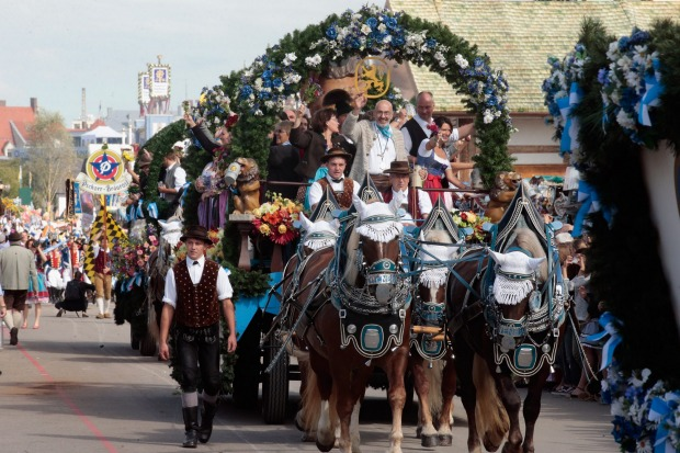 The Loewenbraeu horse coach participates in the opening parade of  the first day of the 2015 Oktoberfest in Munich, Germany.