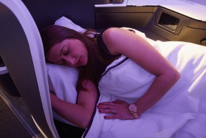 The comforts of a Virgin Australia A330-200 business class seat.