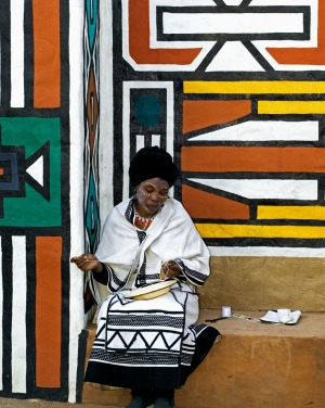 A Xhosa woman in traditional dress at Lesedi Cultural Village near Johannesburg South Africa.