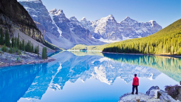 Valley of the Ten Peaks and glacial Moraine Lake Banff National Park Canada.