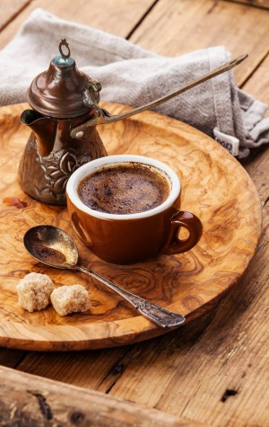 A cup of black coffee in Turkey.