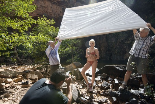 Getting the right shot: Belinda Roedl models swimwear at Emma Gorge.