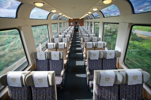 The Rocky Mountaineer's glass viewing dome offers spectacular viewing.