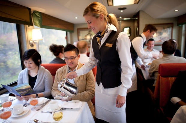 Fine dining on board the Rocky Mountaineer.