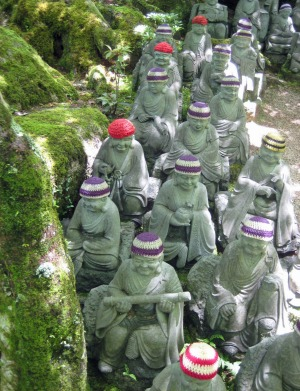 Woolly-hatted statues at Daisho-in temple on Miyajima Island near Hiroshima.