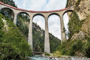 The Bernina Express travels along the Landwasser Viadukt at Filisur which is 65m high and 136m long.
