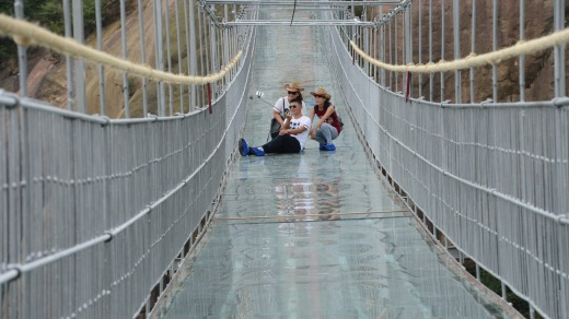 The 300-metre-long glass suspension bridge, with a maximum height of 180 metres, opened to the public last week.