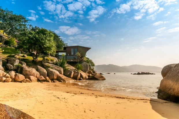 Brazilian beachfront in Santa Catarina, Brazil.