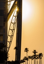 Sunset behind the Burj Al Arab Hotel in Dubai.