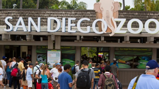 Visitors enter the front of the San Diego Zoo.