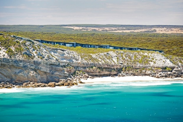 An aerial view of Southern Ocean Lodge on South Australia's Kangaroo Island.