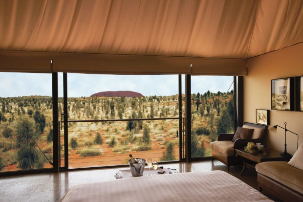 The view from one of the luxury tented rooms at Longitude 131 at Uluru.