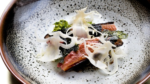 Bennelong at the Opera House: Roasted Hombre duck hispi cabbage, black miso, seaweed.