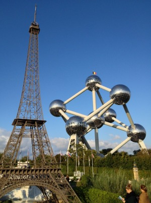 A scaled-back Eiffel Tower and the Atomium.