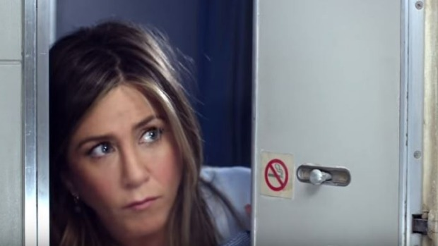 Where is the shower? Jennifer Aniston in the new Emirates ad.