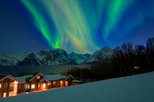 Aurora Borealis above the Lyngen Lodge.