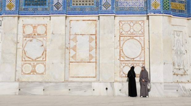 Two Muslim women in front of the Dome of the Rock on the Temple Mount in Jerusalem, Israel.