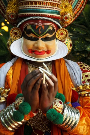 The dancers train to use their facial muscles in nine expressions known as the Nine Tastes or Navarasas.